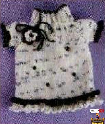Как связать одежду для кошек - Белое платье с цветочком - 1
