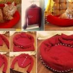 Удобная кроватка для кошек из свитера своими руками