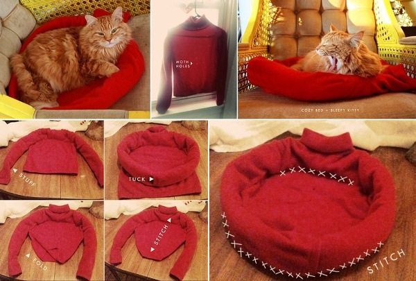 Как сделать лежанку для кота из свитера