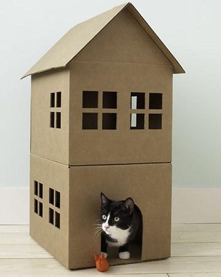 дом для кошки из картонной