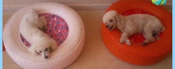 Лежанка собаке самостоятельно из покрышки