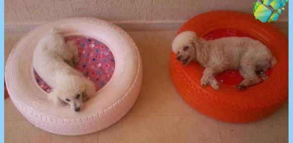 Лежанка для собаки из покрышки