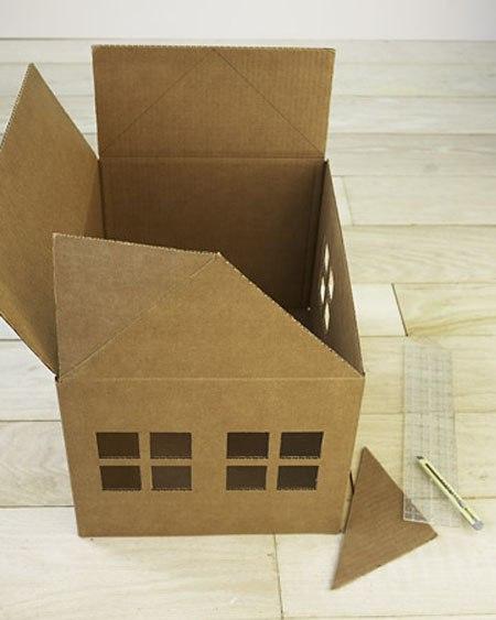 Дом для кошки из картонной коробки